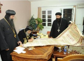 is Holiness Pope Tawadros II signs the Proclamation